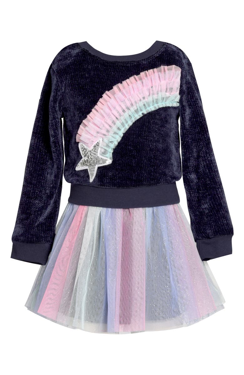 TRULY ME Rainbow Star Faux Two-Piece Tutu Dress, Main, color, NAVY MULTI