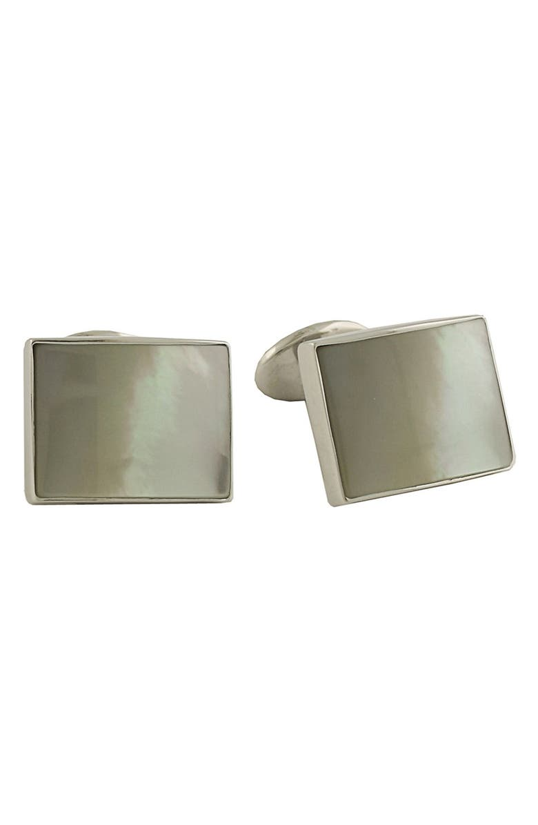 DAVID DONAHUE Sterling Silver Cuff Links, Main, color, MOTHER OF PEARL