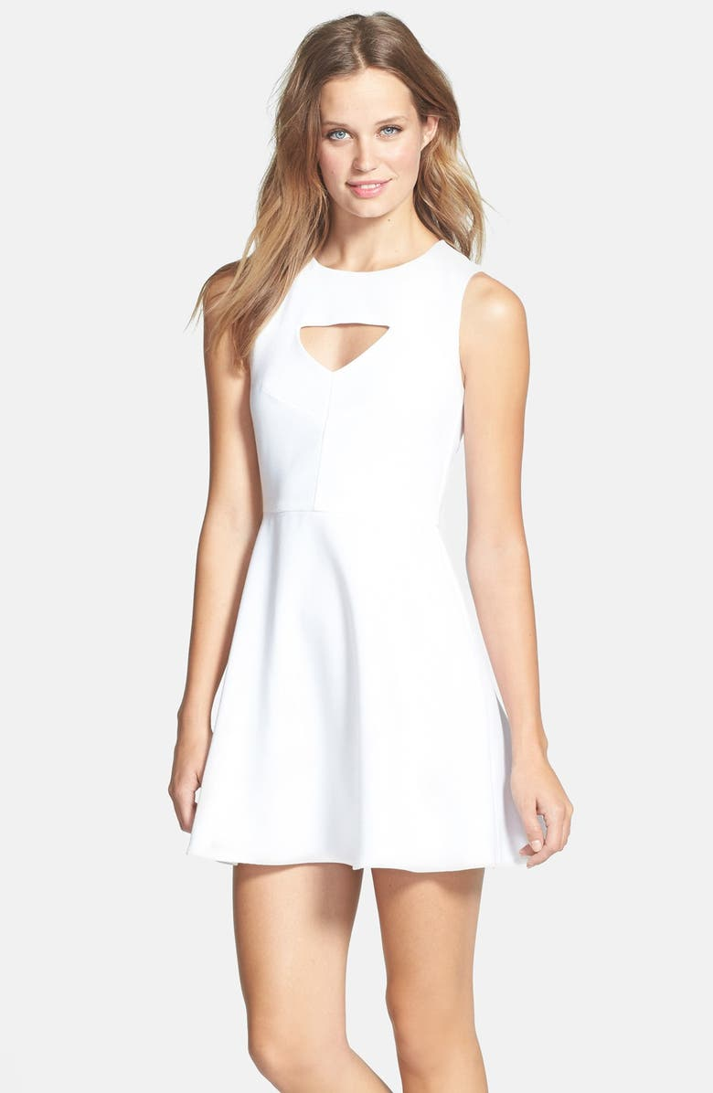 FRENCH CONNECTION 'Feather Ruth' Ponte Fit & Flare Dress, Main, color, White