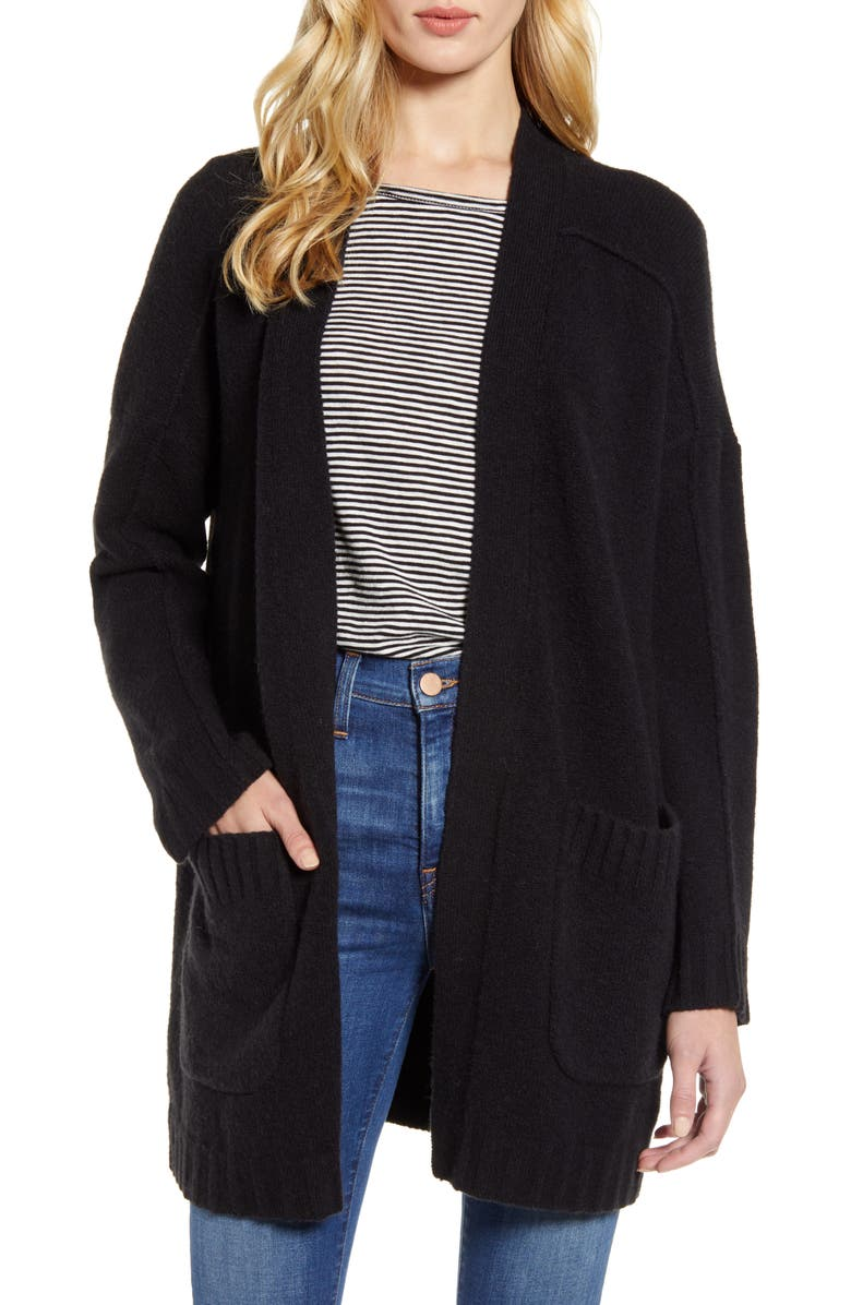 J.CREW Supersoft Yarn Open Cardigan, Main, color, 001