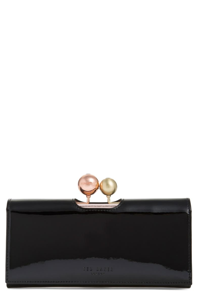 TED BAKER LONDON 'Crystal Bobble' Patent Leather Flap Wallet, Main, color, 001