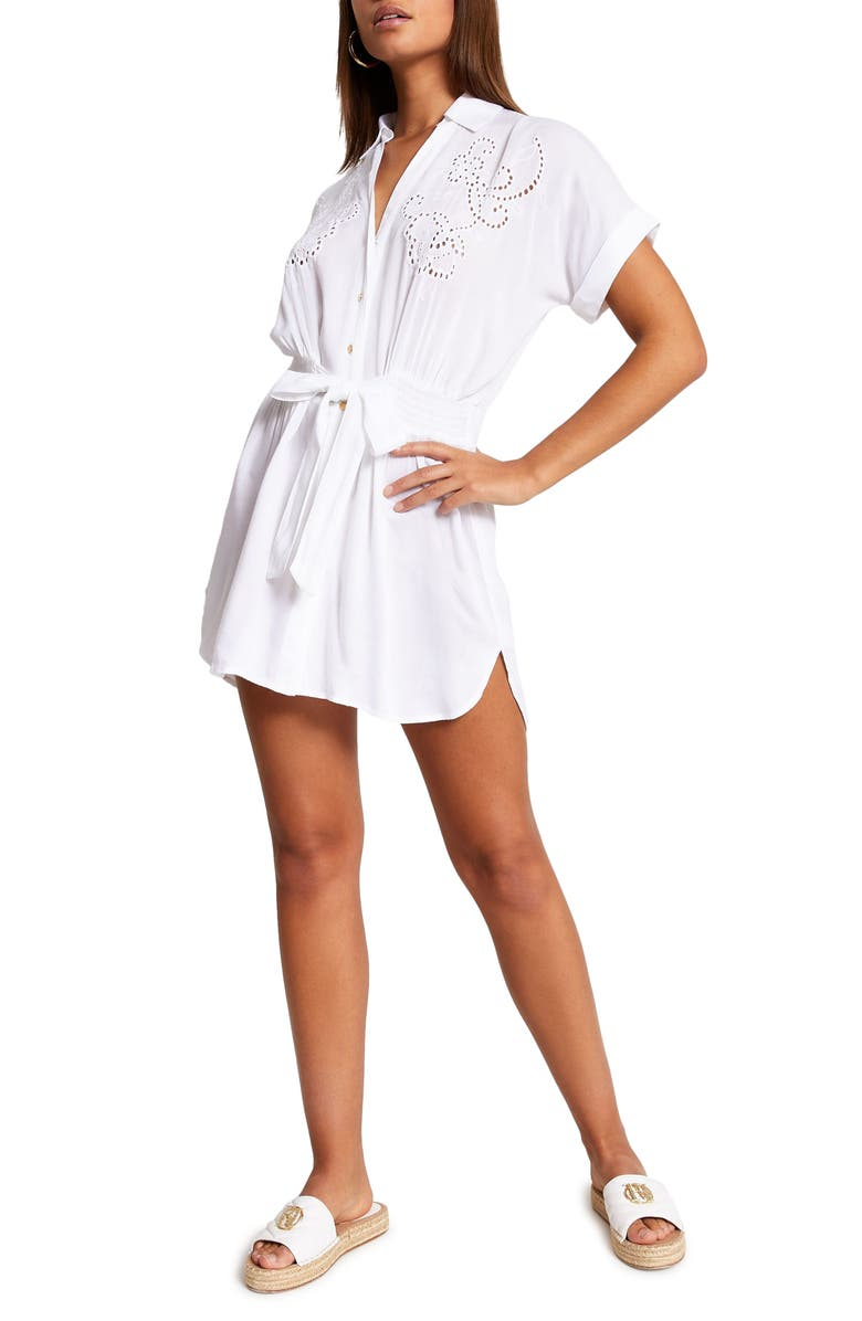 RIVER ISLAND Eyelet Cover-Up Dress, Main, color, WHITE