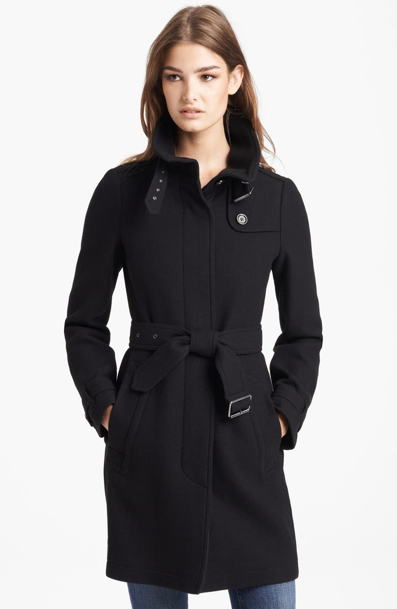 BURBERRY BRIT 'Rushworth' Belted Wool Blend Coat, Main, color, 001