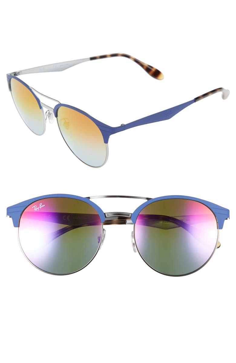 RAY-BAN Highstreet 54mm Round Sunglasses, Main, color, 001