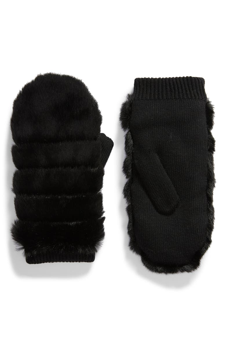 UGG<SUP>®</SUP> Faux Fur Mittens, Main, color, 001
