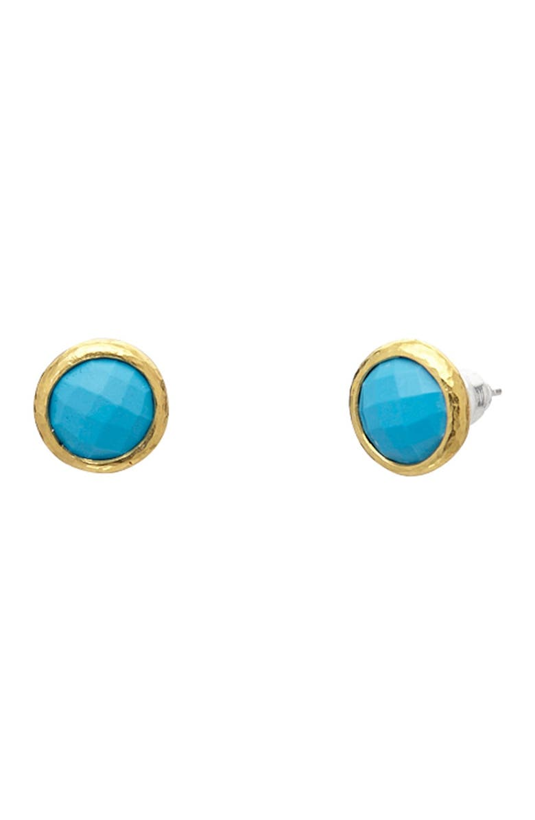 GURHAN Stud Earring With Round Checkerboard Cut Turquoise, Main, color, SILVER