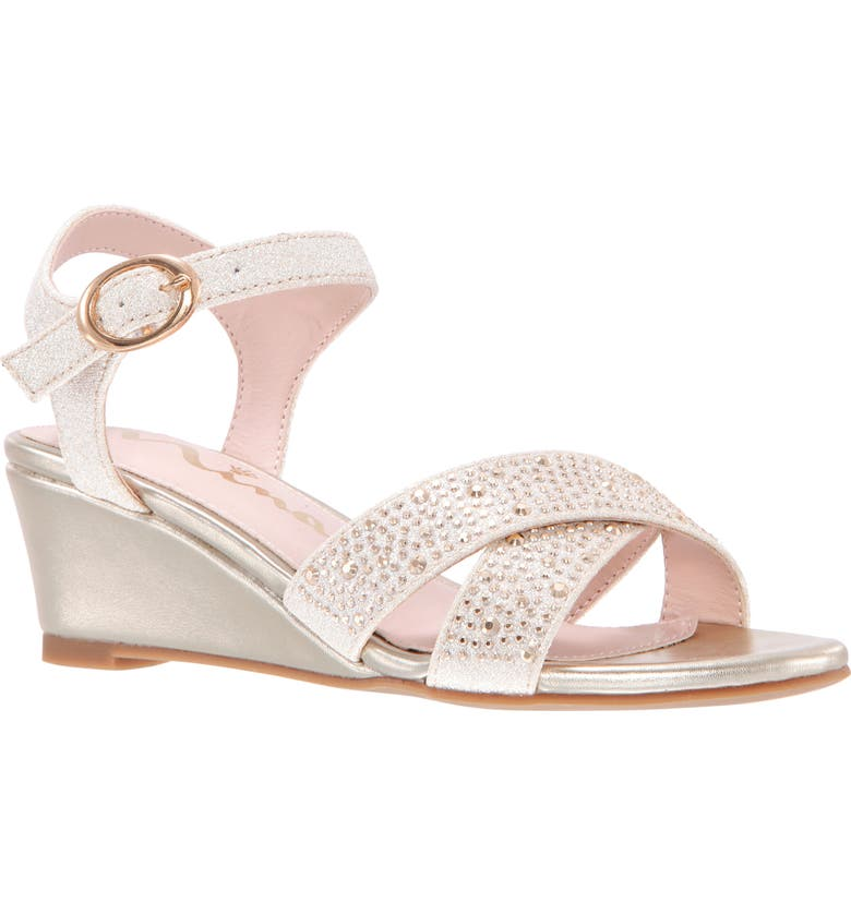 NINA Skarlet Glitter Wedge Sandal, Main, color, PLATINO METALLIC