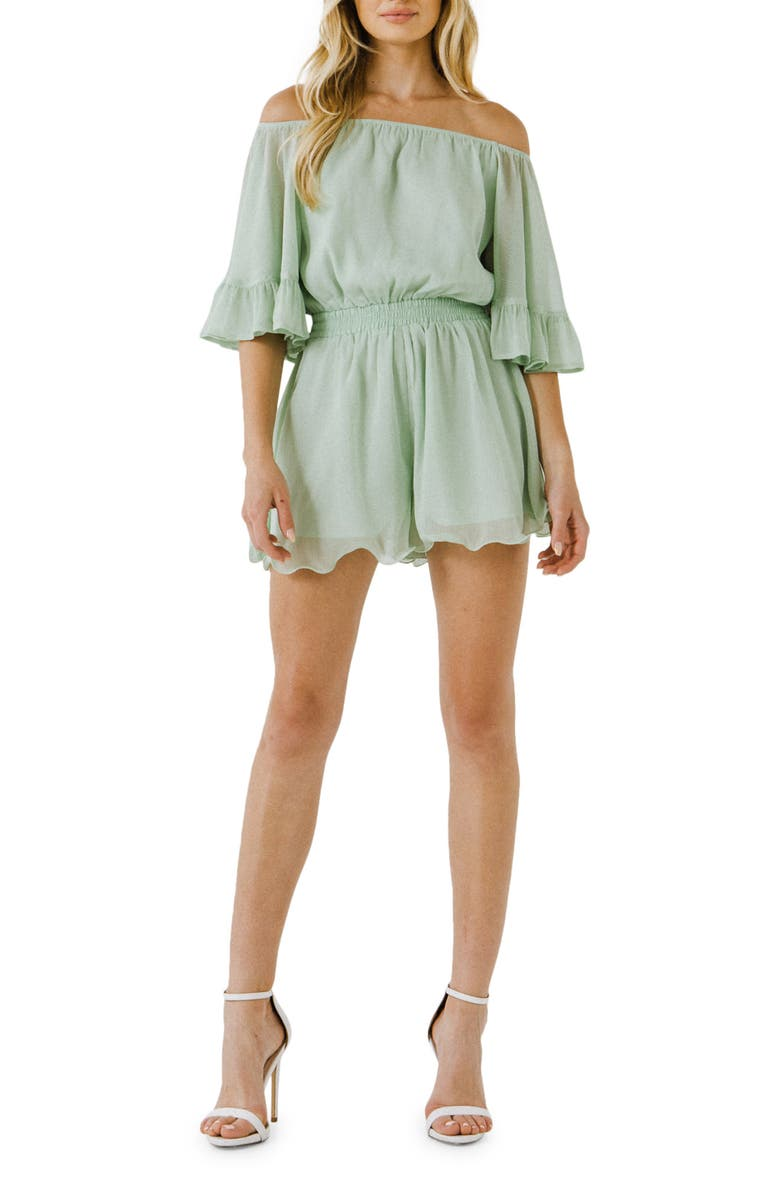 ENDLESS ROSE Off the Shoulder Ruffle Sleeve Romper, Main, color, MINT