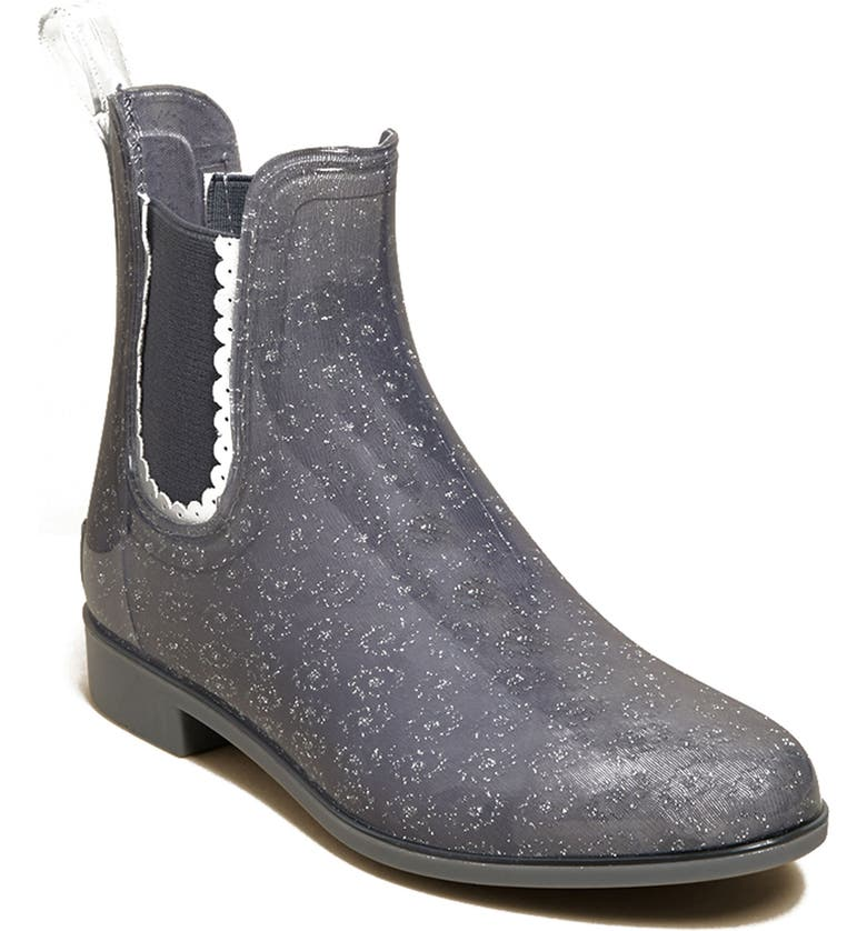 JACK ROGERS Sallie Chelsea Waterproof Rain Waterproof Bootie, Main, color, DARK GREY RUBBER