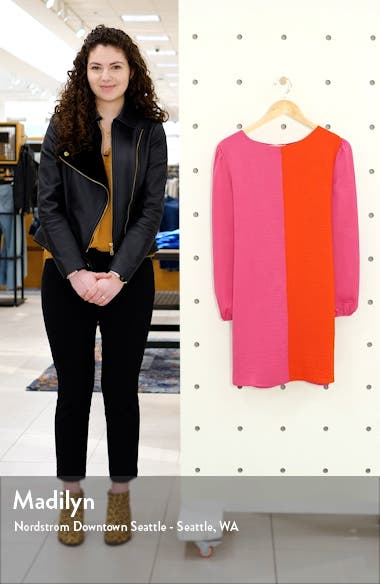 Colorblock Tie Waist Long Sleeve Dress, sales video thumbnail