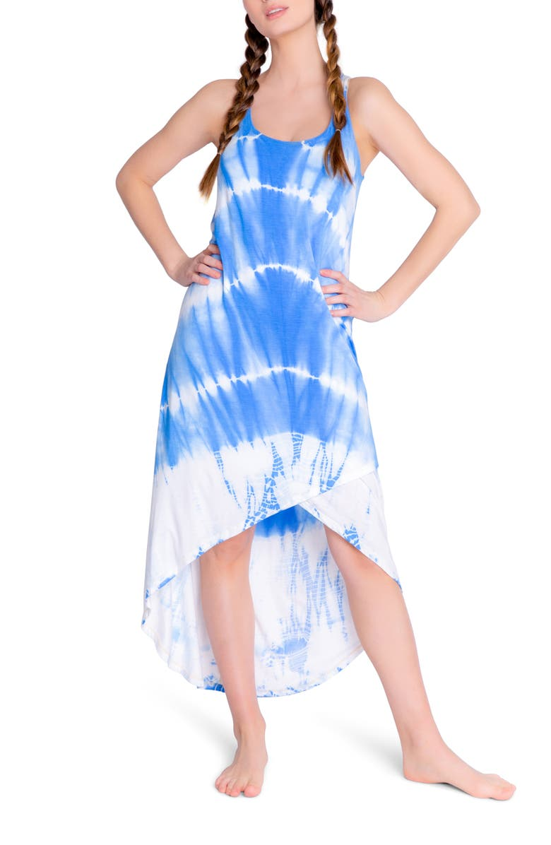 PJ SALVAGE Sail Away High/Low Nightgown, Main, color, BRIGHT BLUE