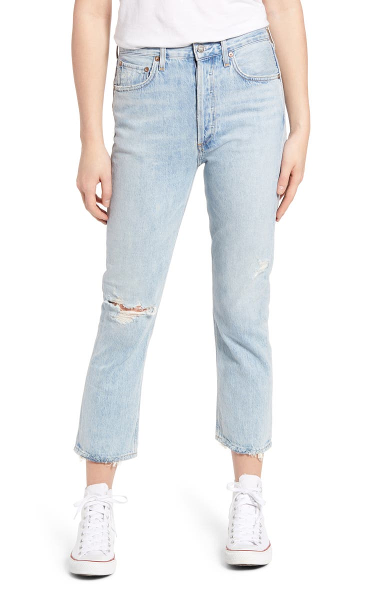 AGOLDE Riley Ripped High Waist Crop Straight Leg Jeans, Main, color, SHATTER