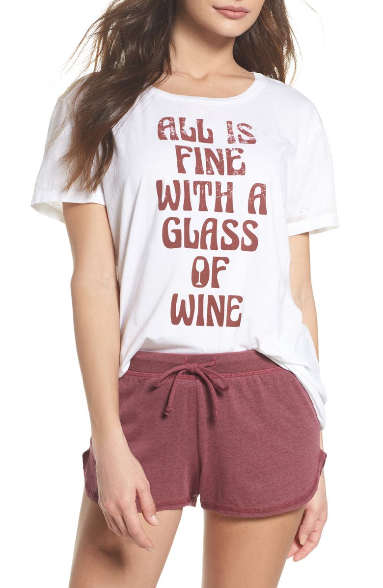 CHASER All is Fine Vintage Jersey Tee, Main, color, White
