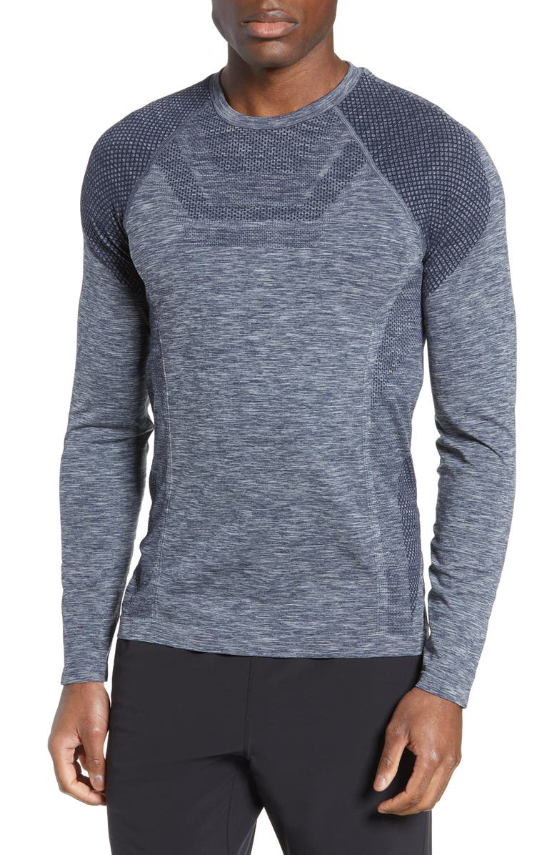 ALO Conquer Performance T-Shirt, Main, color, DARK NAVY HEATHER