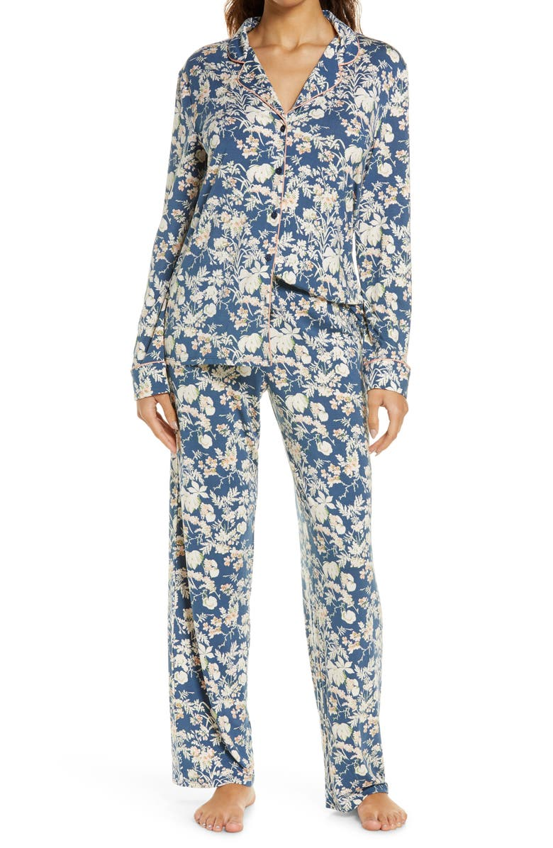 NORDSTROM LINGERIE Moonlight Pajamas, Main, color, NAVY DENIM ETHEREAL FLORAL