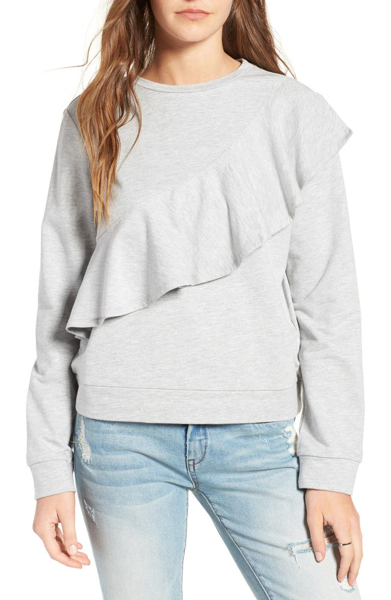 LOVE, FIRE Ruffle Front Sweatshirt, Main, color, 030