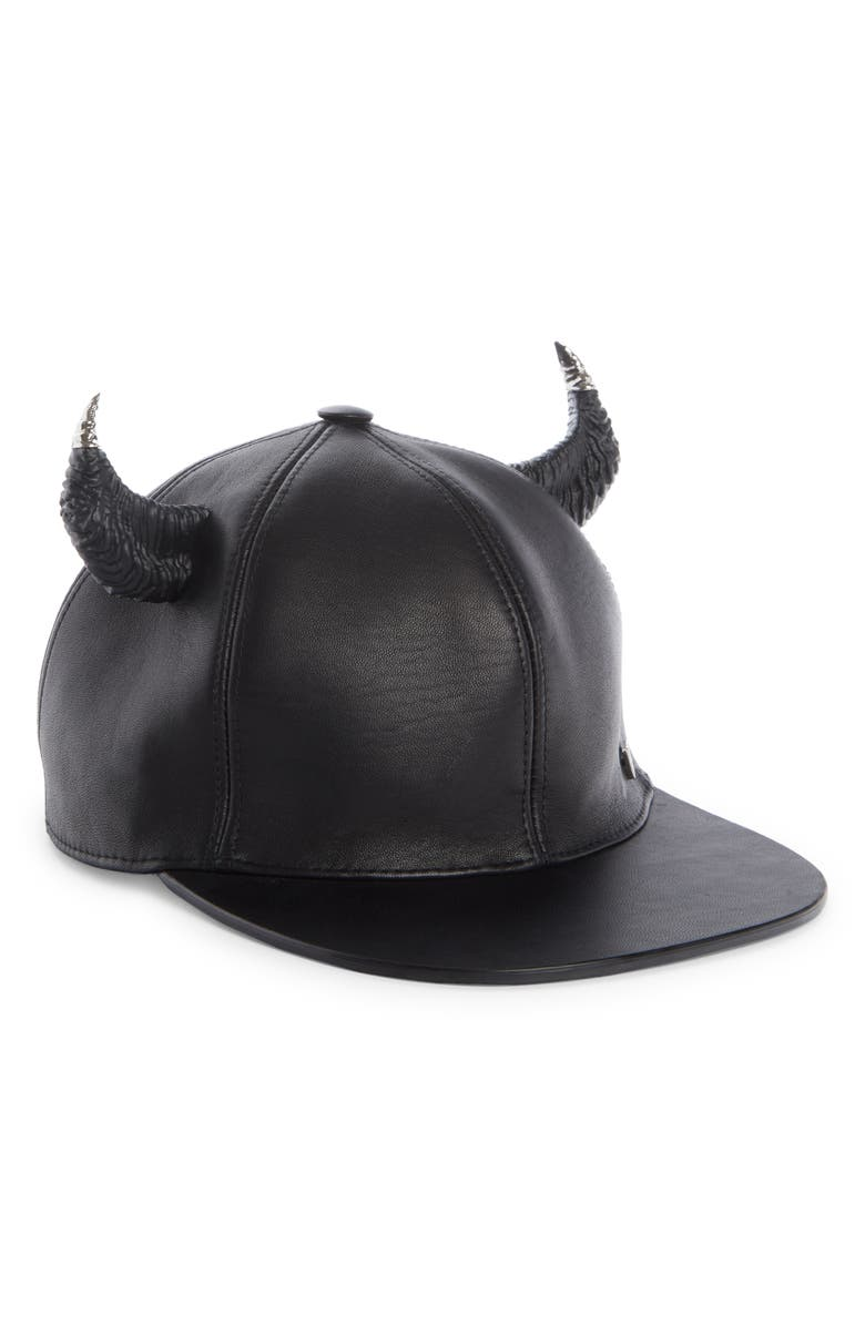 GIVENCHY Leather Baseball Cap with Horns, Main, color, BLACK