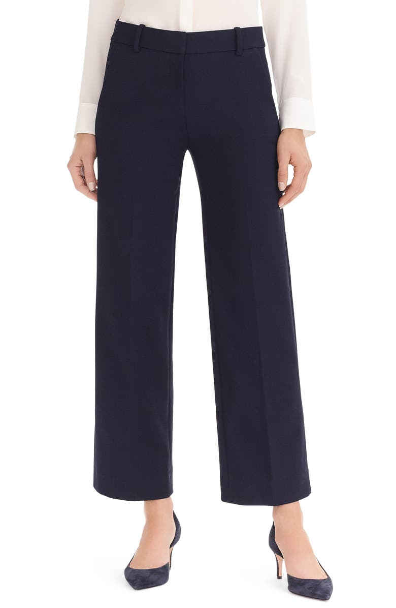 J.CREW Wide Leg Pant in Four Season Stretch, Main, color, 001