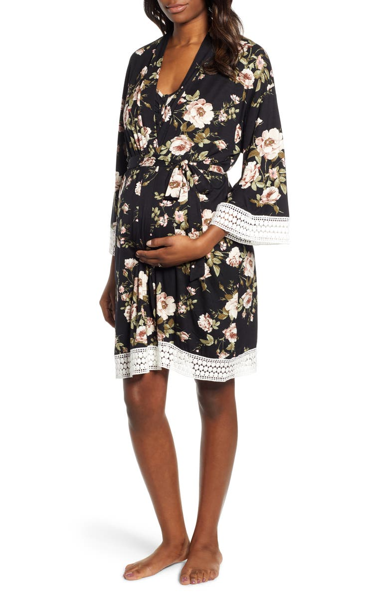 ANGEL MATERNITY Maternity/Nursing Dress, Robe & Blanket Set, Main, color, 001