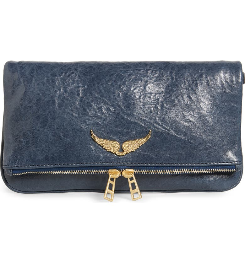 ZADIG & VOLTAIRE Zagid & Voltaire Rock Crush Leather Clutch, Main, color, 400