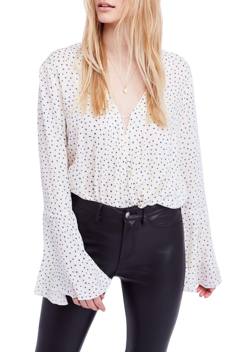 FREE PEOPLE Makin' Waves Bodysuit, Main, color, White