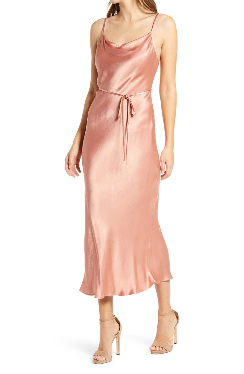 SHONA JOY Cowl Neck Midi Slipdress, Main, color, ROSE