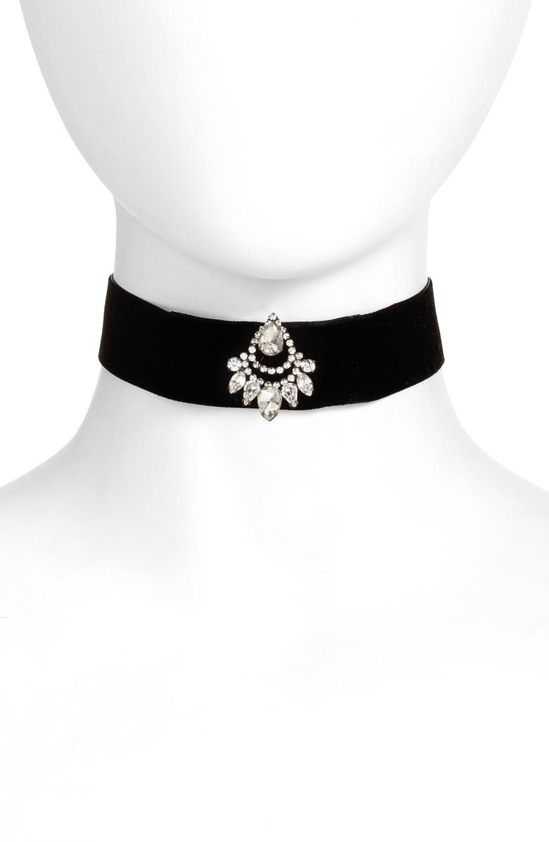 CRISTABELLE Crystal & Velvet Choker, Main, color, 101