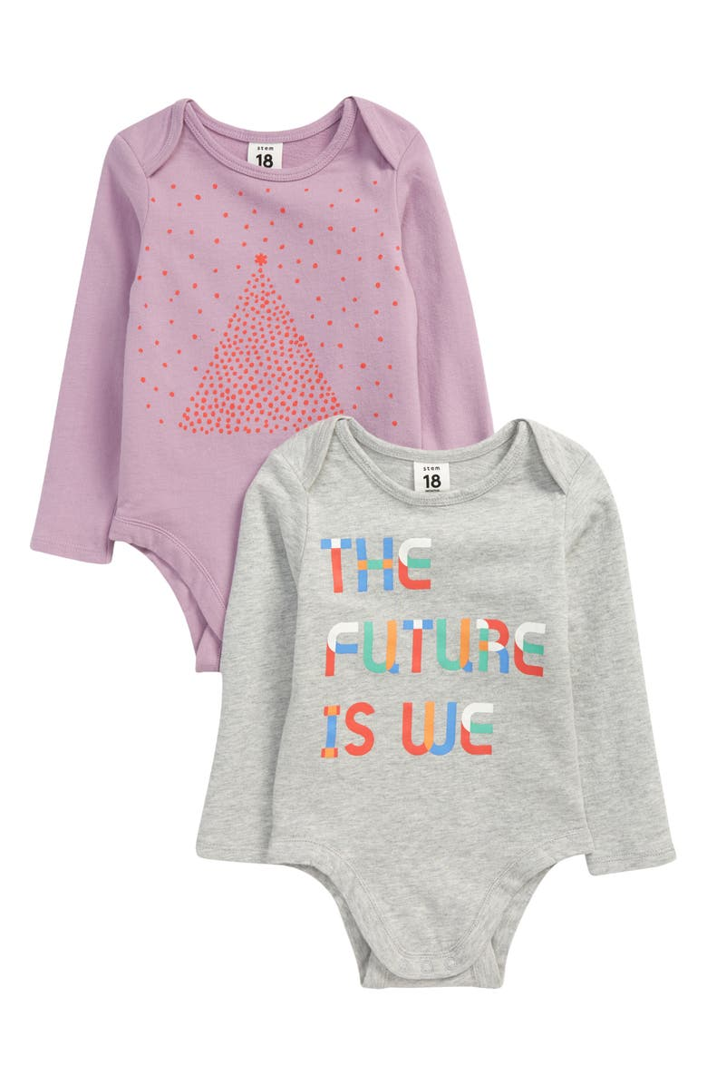 STEM The Future is We 2-Pack Organic Cotton Bodysuits, Main, color, 500