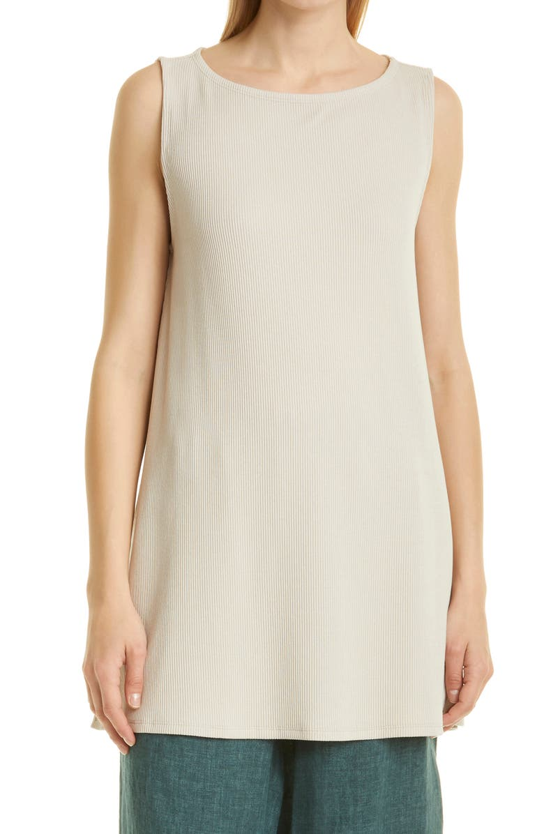 EILEEN FISHER Ballet Neck Ribbed Tunic, Main, color, CHALK