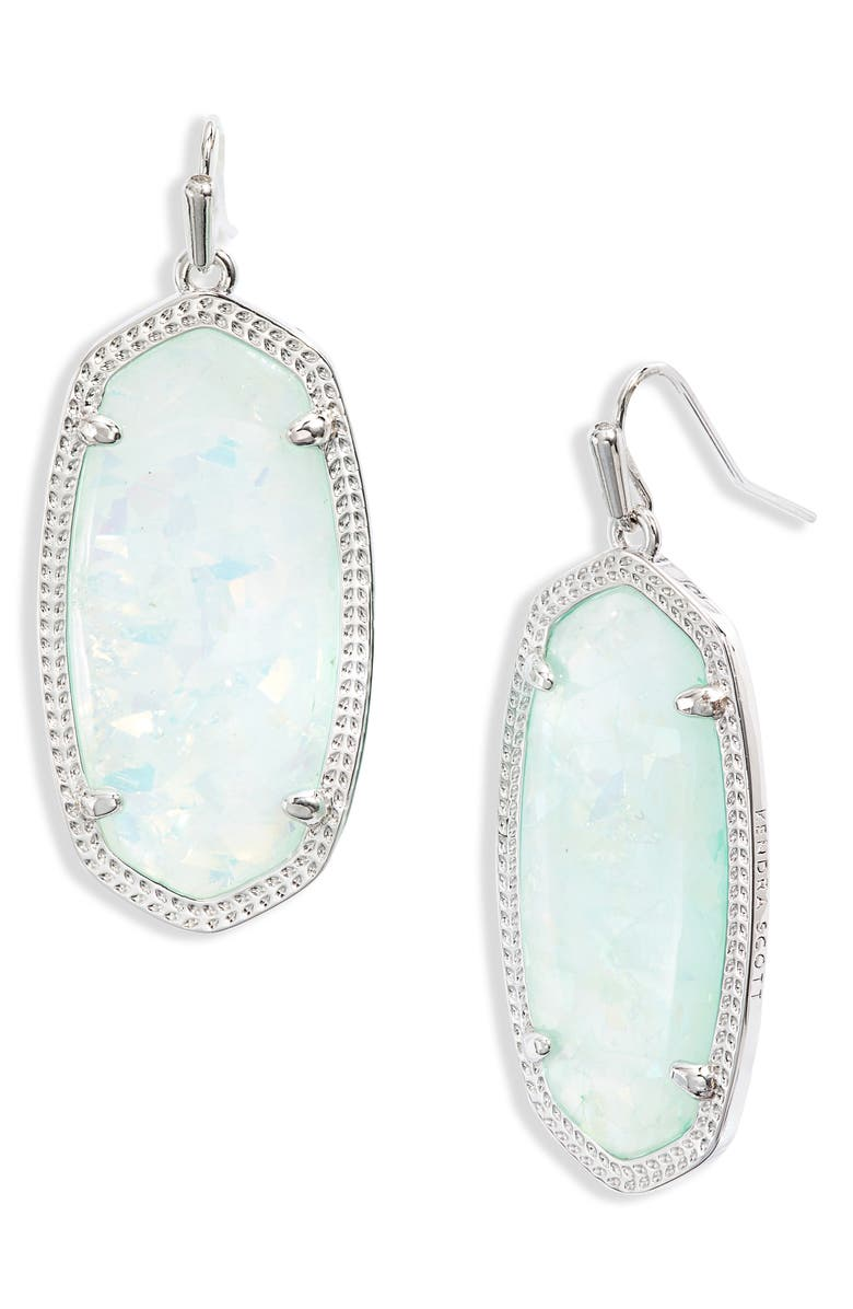 KENDRA SCOTT Elle Filigree Drop Earrings, Main, color, RHODIUM IRIDESCENT MINT