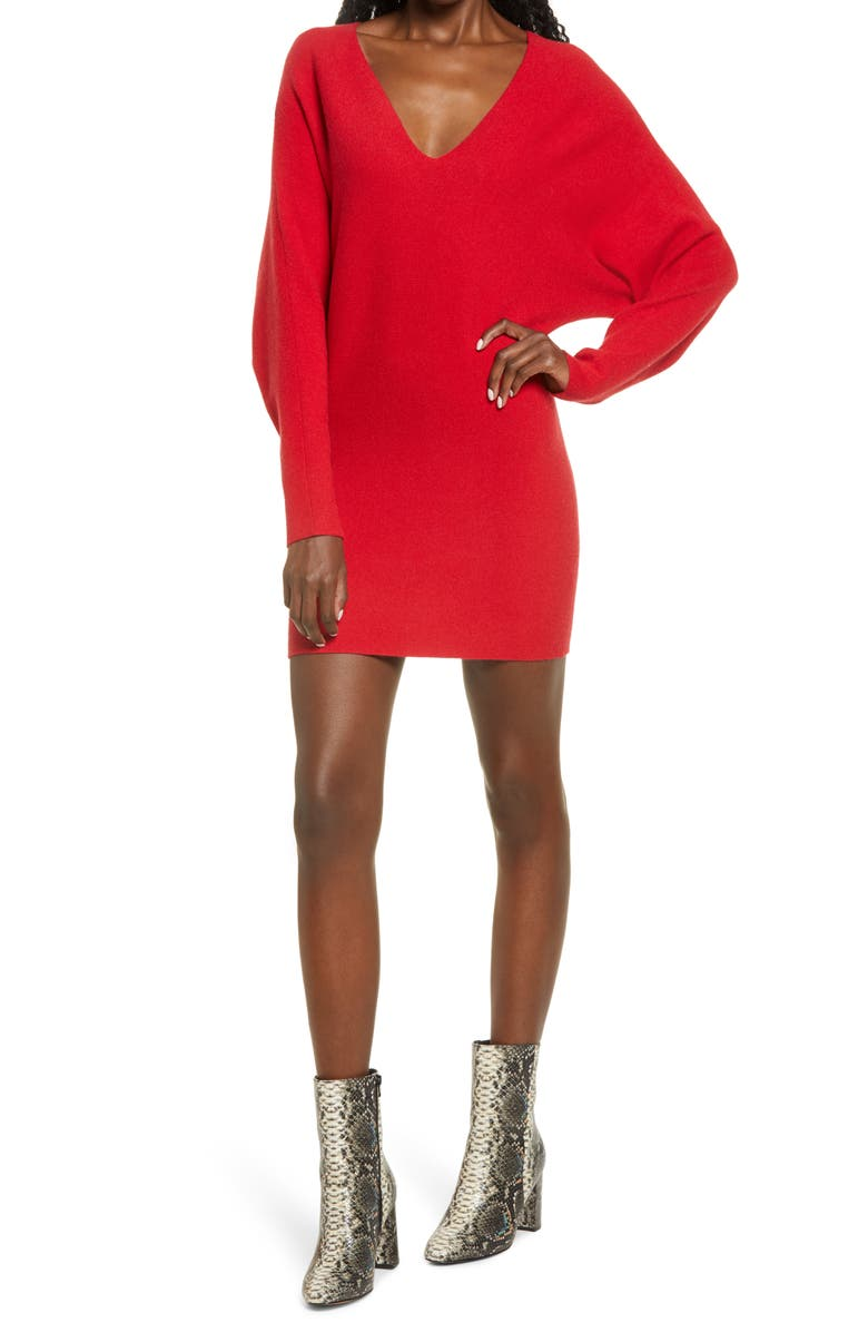 LEITH Long Sleeve Dolman Sweater Minidress, Main, color, RED COUTURE