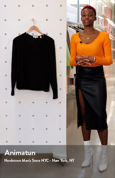 V-Neck Ribbed Wool & Cashmere Blend Sweater, sales video thumbnail