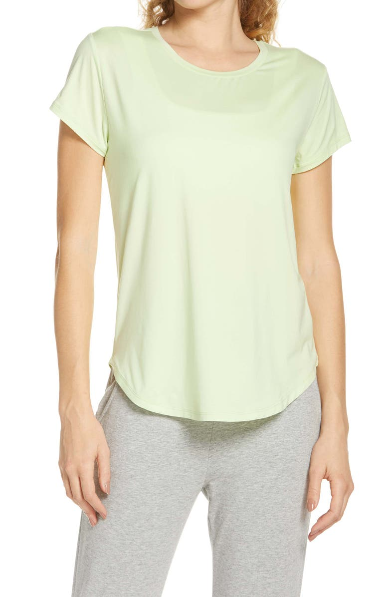 ZELLA Strength Performance T-Shirt, Main, color, GREEN BUTTERFLY