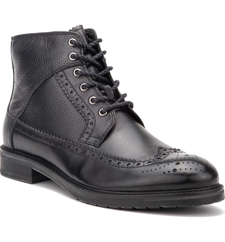 VINTAGE FOUNDRY Digiorno Wingtip Leather Lace-Up Boot, Main, color, BLACK