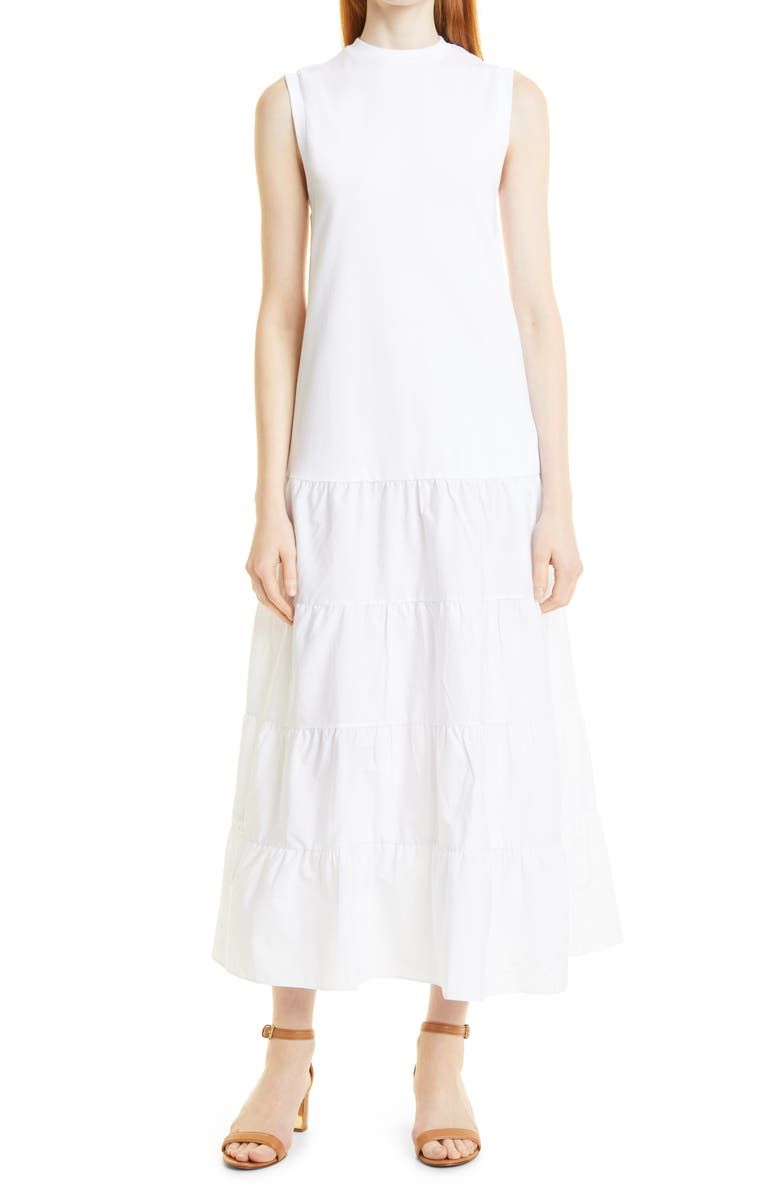 TED BAKER LONDON Sleeveless Tiered Maxi Dress, Main, color, WHITE
