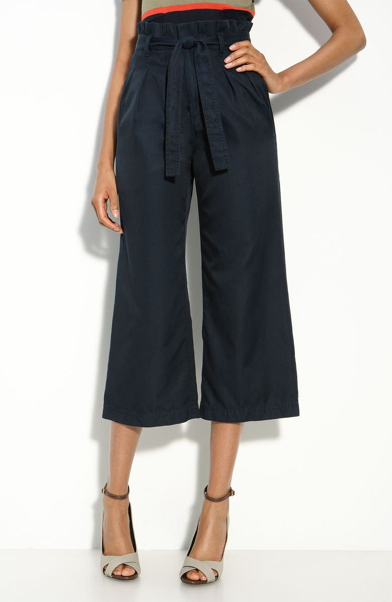 MARC BY MARC JACOBS Paperbag Waist Crop Twill Pants, Main, color, NORMANDY BLUE