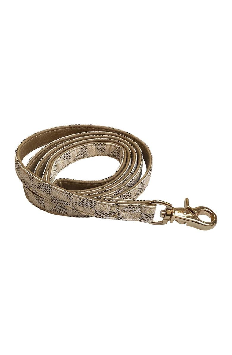 DOGS OF GLAMOUR Evelyn Luxury Leash Beige, Main, color, BEIGE