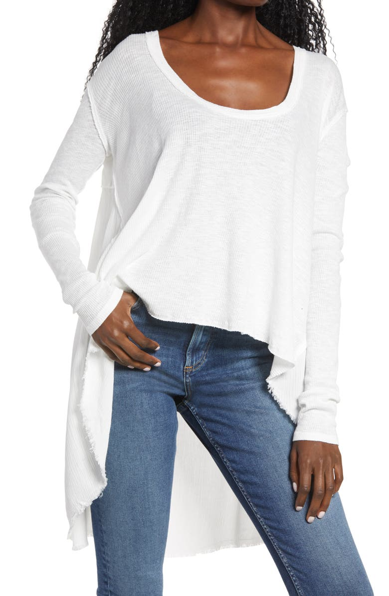 FREE PEOPLE TT Special Waffle Knit High/Low Top, Main, color, 100