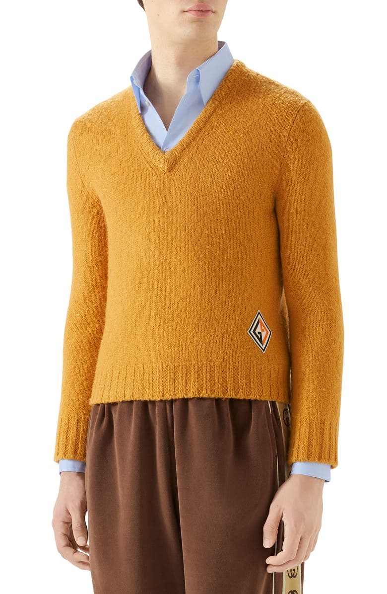 GUCCI V-Neck Wool Sweater, Main, color, 800