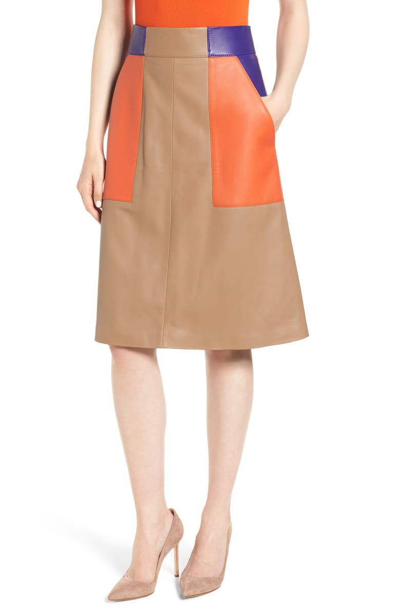 BOSS Seplea Colorblock Leather Skirt, Main, color, WARM CLAY FANTASY