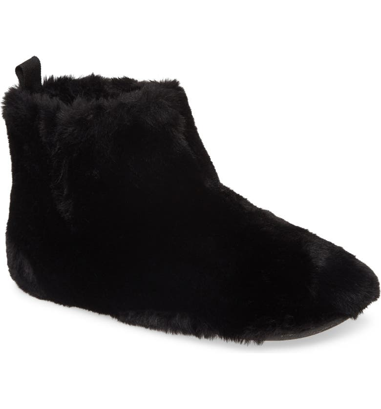 FITFLOP Faux Fur Slipper Bootie, Main, color, 001