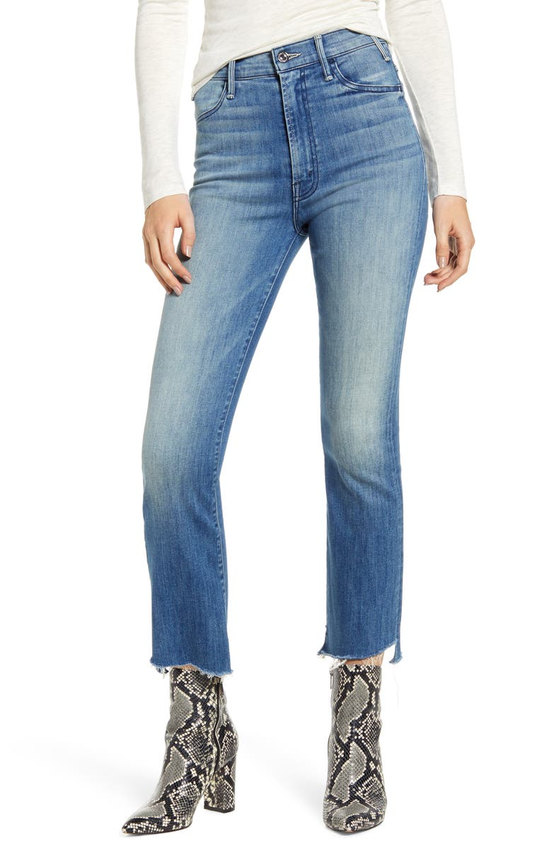 MOTHER The Hustler Two Step Fray High Waist Ankle Bootcut Jeans, Main, color, 420
