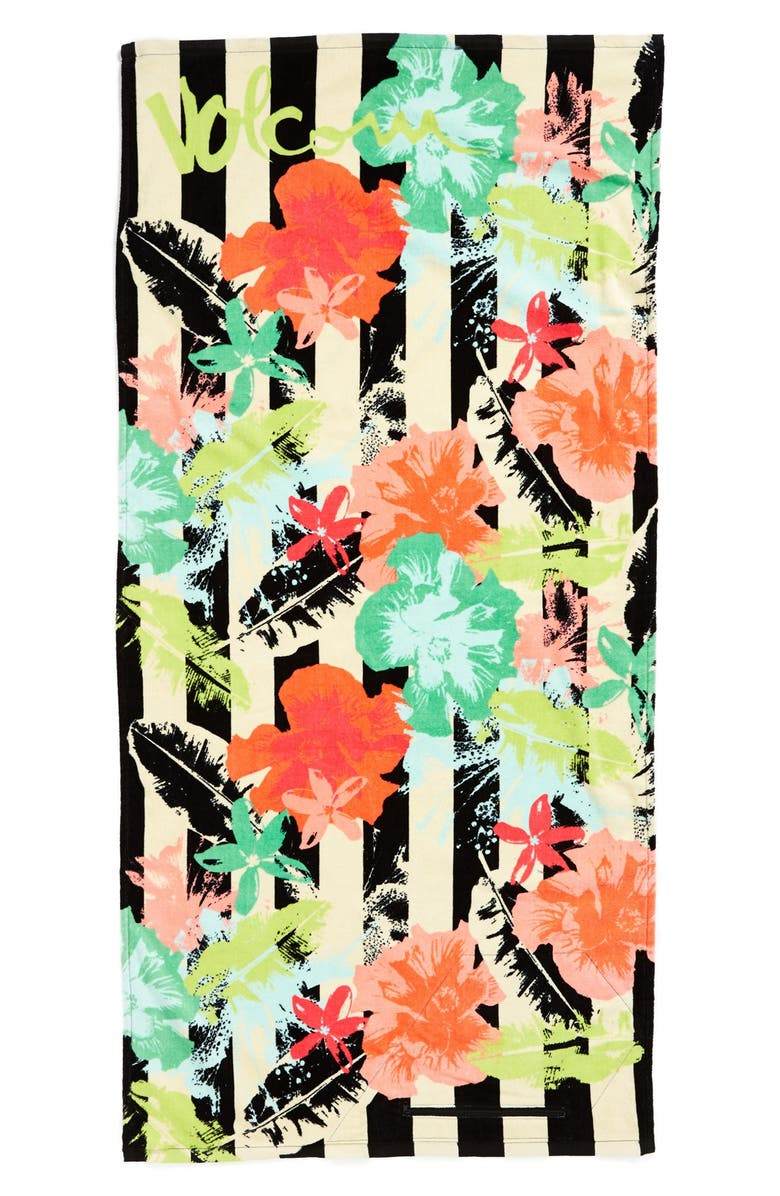 VOLCOM 'Night Out' Floral Print Beach Towel, Main, color, 330