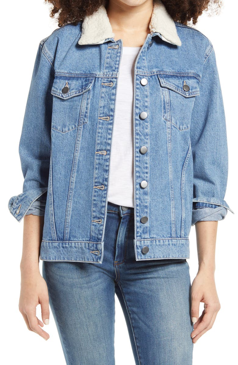 BP. Denim Jacket with Removable Faux Shearling Collar, Main, color, 420