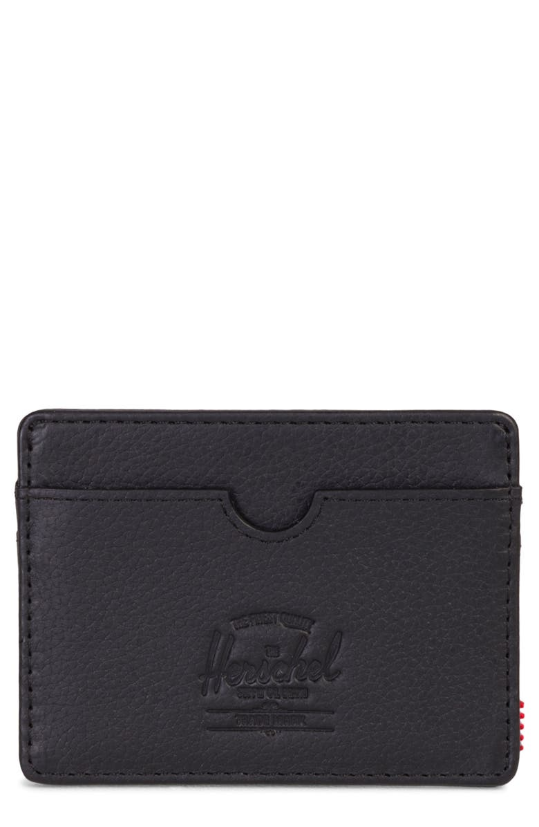 HERSCHEL SUPPLY CO. Charlie Leather RFID Card Case, Main, color, 005