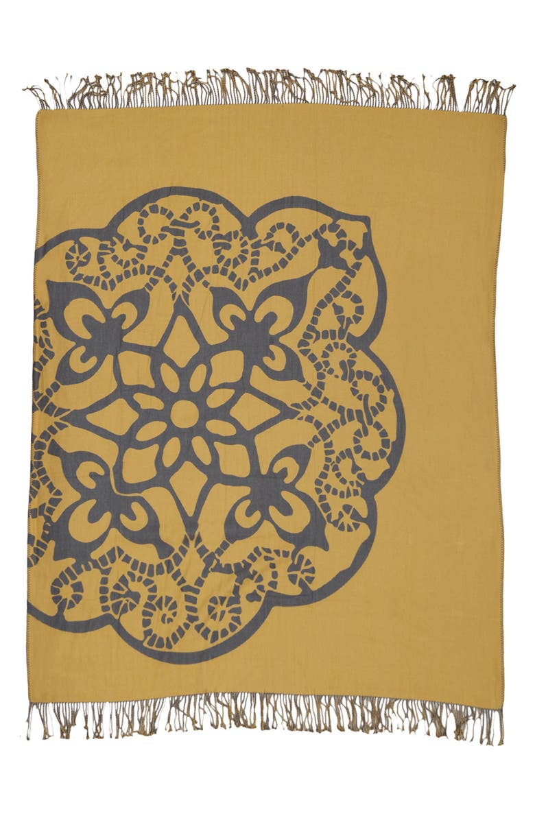 BLISSLIVING HOME 'Medallion' Throw, Main, color, GREY/ YELLOW
