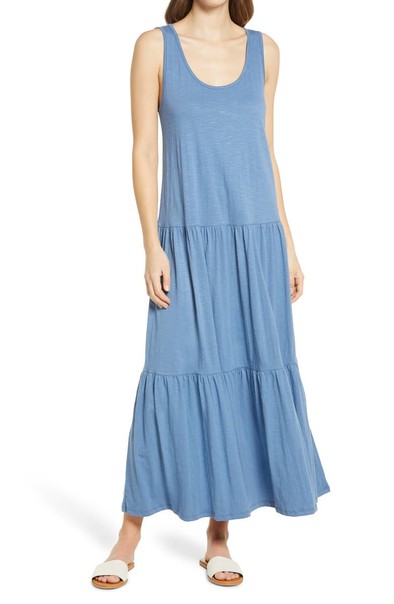 CASLON<SUP>®</SUP> Scoop Neck Tiered Maxi Dress, Main, color, BLUE MOONLIGHT