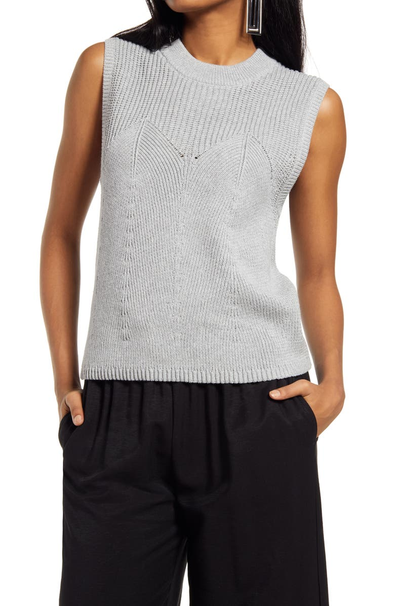 OPEN EDIT Stitch Detail Sleeveless Sweater, Main, color, GREY HEATHER