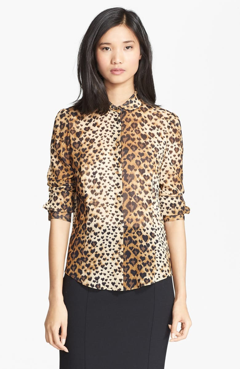 RED VALENTINO Leopard Print Stretch Silk Blouse, Main, color, 250