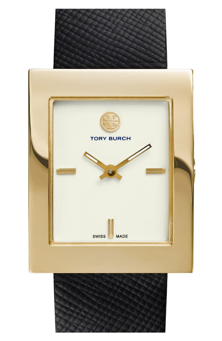 TORY BURCH 'Buddy Classic' Rectangular Saffiano Leather Strap Watch, 26mm x 32mm, Main, color, BLACK/ GOLD